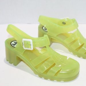 JUJU Jellies Babe Sandals NEON Opaque Block Heel